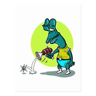 stupid alien shoot single electron cartoon postcard