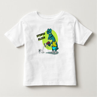 stupid alien shoot single electron cartoon toddler T-Shirt