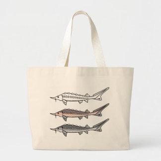 Sturgeon rare fish large tote bag