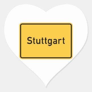 Stuttgart, Germany Road Sign Heart Sticker