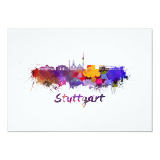 Stuttgart skyline in watercolor card