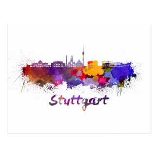 Stuttgart skyline in watercolor postcard