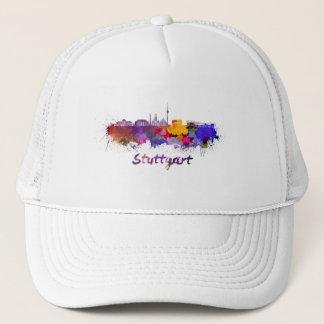 Stuttgart skyline in watercolor trucker hat