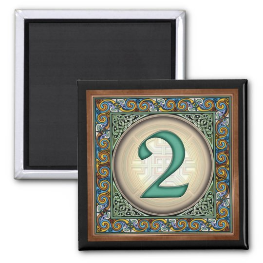 "Style B, ""2"" - Celtic Number Magnets"