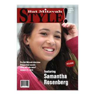 Style! Bat Mitzvah Magazine Invitation, Red 13 Cm X 18 Cm Invitation Card