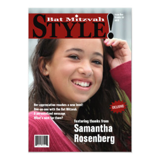 Style! Bat Mitzvah Magazine Thank You Card in Red 13 Cm X 18 Cm Invitation Card