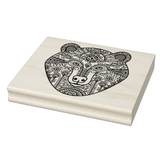 Style Bear Head Rubber Stamp