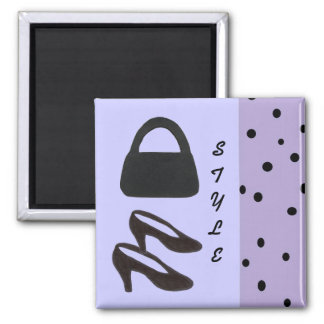 Style -  Black Purse and Black Shoes Square Magnet