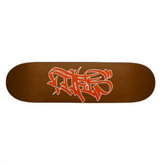 Style red graf on brown skateboard deck