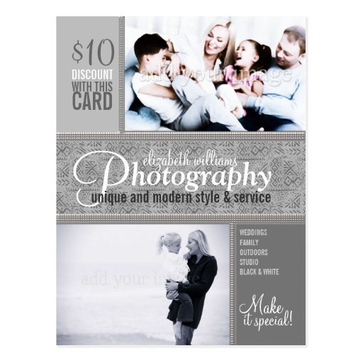 Style Tribal Silver Photography Business Postcard