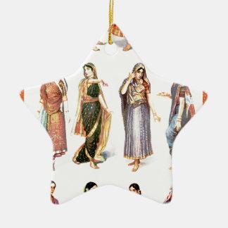 Styles_of_Sari vintage print Ceramic Star Decoration