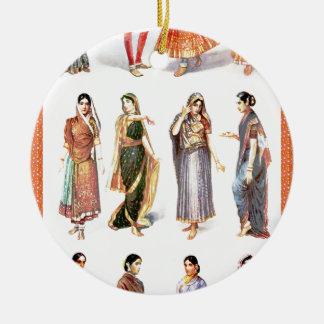 Styles_of_Sari vintage print Round Ceramic Decoration