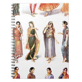 Styles_of_Sari vintage print Spiral Notebook