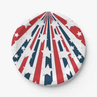 Stylised American Flag Paper Plates 7 Inch Paper Plate