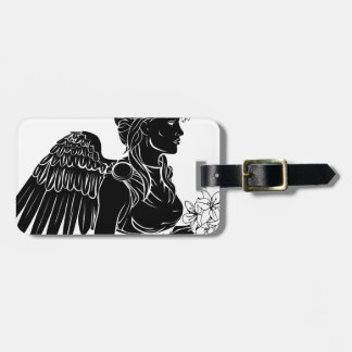 Stylised angel woman illustration luggage tag