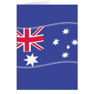 Stylised Aussie Australian flag on a blue backgrou Card