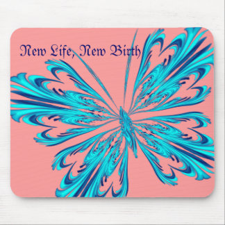 Stylised butterfly in aqua blue mouse pad