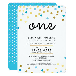 STYLISH 1ST birthday party INVITE blue gold boy
