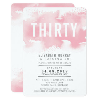 STYLISH 30TH birthday INVITE watercolor blush pink