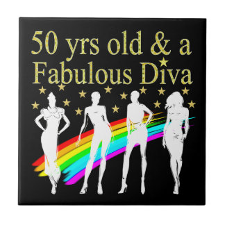 STYLISH 50 AND FABULOUS 50TH BIRTHDAY DESIGN SMALL SQUARE TILE