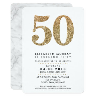 STYLISH 50TH birthday party INVITE gold glitter 50