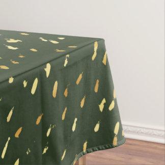 Stylish abstract gold splatter hunter green tablecloth