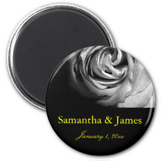 Stylish and Chic Black and White Rose Magnet