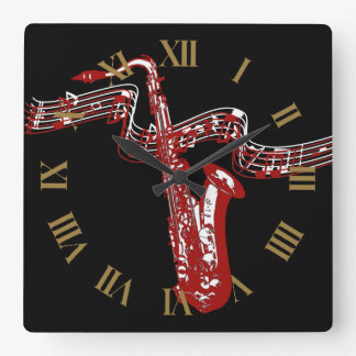 Stylish and Cool Red Saxophone Wall Clock