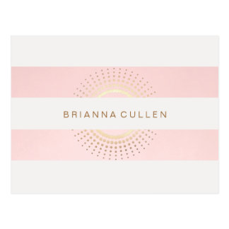 Stylish and Elegant Striped Pink and Gold Circles Postcard