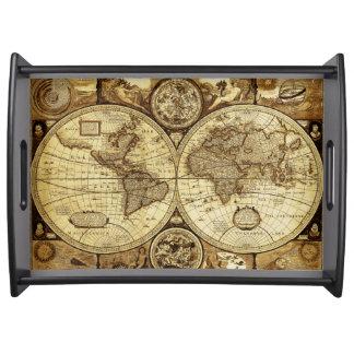 Stylish and Elegant Vintage old world map Serving Tray