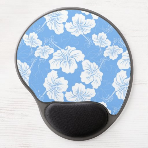 Stylish and Fashionable White Floral on Baby Blue. Gel Mouse Pad