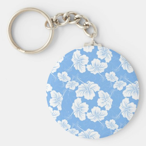 Stylish and Fashionable White Floral on Baby Blue. Key Chains