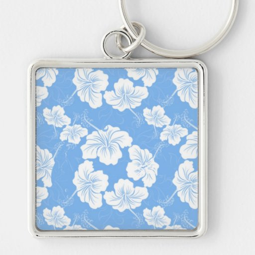 Stylish and Fashionable White Floral on Baby Blue. Keychain