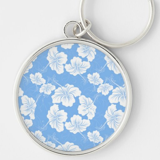 Stylish and Fashionable White Floral on Baby Blue. Key Chain