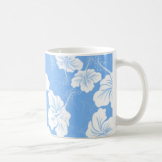 Stylish and Fashionable White Floral on Baby Blue. Mugs