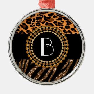 Stylish Animal Prints Zebra and Leopard Patterns Ornament