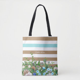 Stylish Aqua and Tan Floral and Stripes With Name Tote Bag