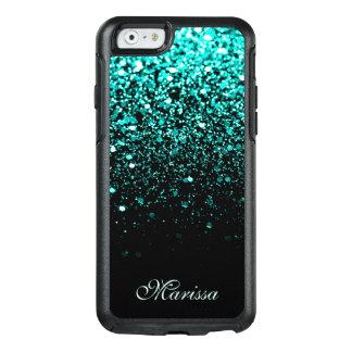 Stylish Aqua Blue Glitter Black OtterBox iPhone 6/6s Case