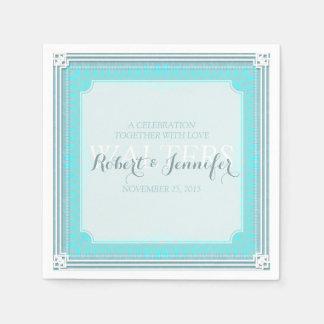 Stylish Aqua Blue Wedding  Dinner Paper Napkins