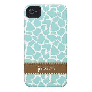 Stylish Aqua Giraffe Pattern iPhone 4 Cover