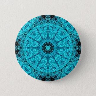 Stylish aqua mandala 6 cm round badge