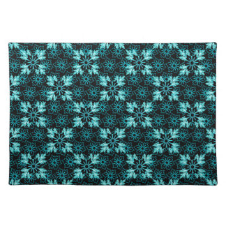 Stylish Aqua Teal and Black Floral Placemat