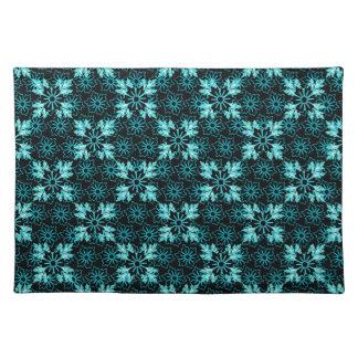 Stylish Aqua Teal and Black Floral Place Mat