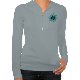 Stylish Aqua Teal and Black Flower Sweatshirt