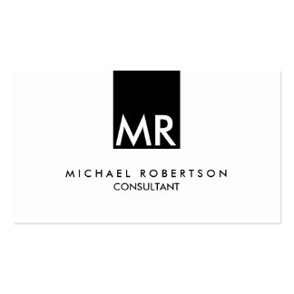 Stylish Attractive Monogram Black White Pack Of Standard Business Cards