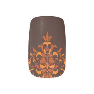 Stylish autumn damask minx nail art