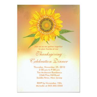 Stylish Autumn Sunflower Thanksgiving Invitations