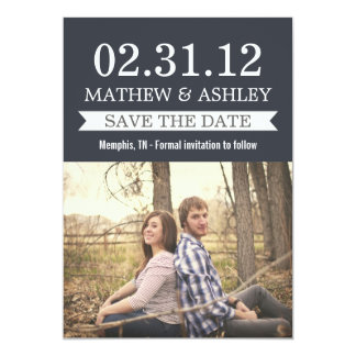 Stylish Banner Navy Save The Date Invites
