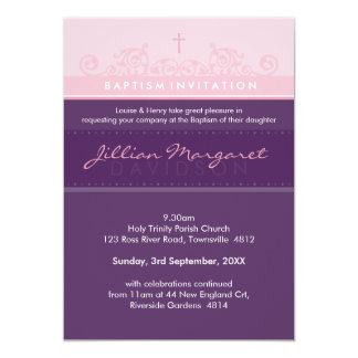 STYLISH BAPTISM INVITES :: elegant 2P