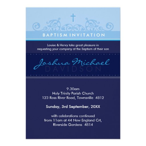 STYLISH BAPTISM INVITES :: elegant 5P